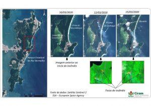 Read more about the article Imagens de satélite identificam fumaça e focos de incêndio florestal em Florianópolis