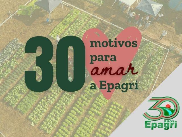 Read more about the article EPAGRI 30 ANOS: 30 motivos para amar a Empresa